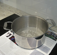 Induction stovetop with boiling water