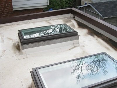 The flat roof with TPO membrane. Installed two years earlier.