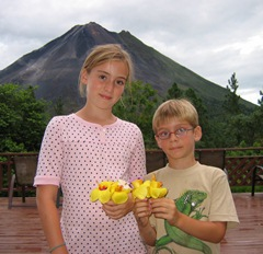 Our children in front of Volcan Arenal